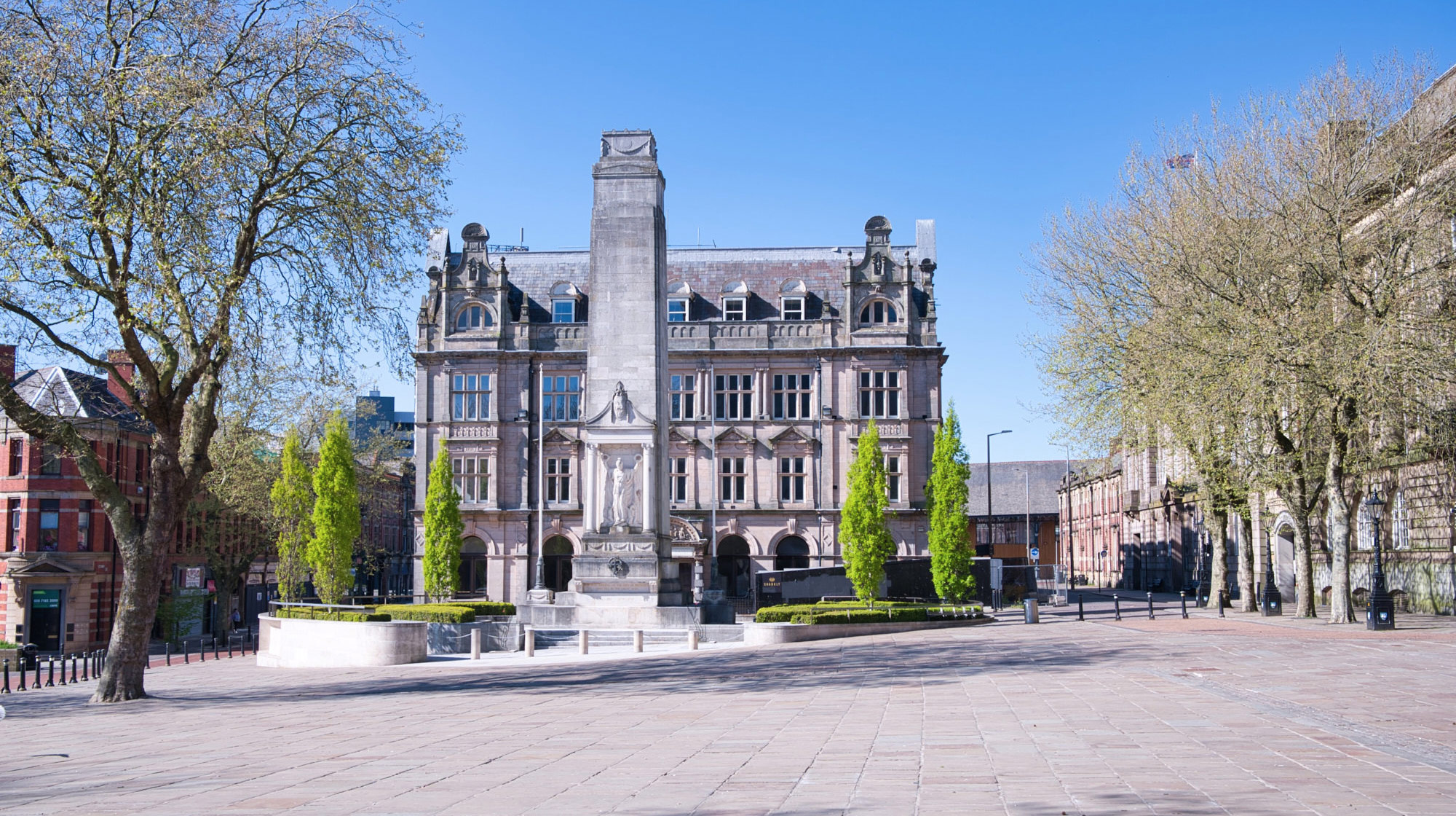 Preston Cenotaph and old Post Office - April 2020